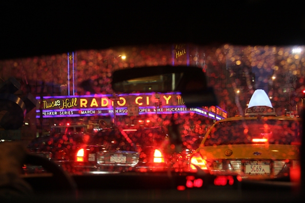 Cab Ride in the Rain, Radio City Music Hall, NYC 2009