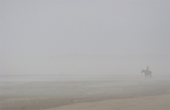 Lone Horseman on Beach, WA